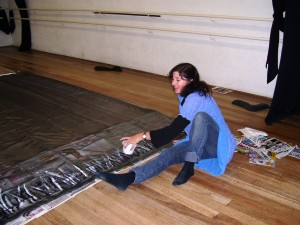 Tanya painting the Sleeping Beauty Backdrop